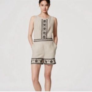 Loft Sleeveless Embroidered Linen Romper NWT